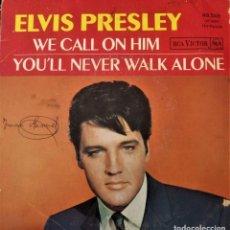 Discos de vinilo: ELVIS PRESLEY - WE CALL ON HIM- SINGLE FRANCIA 1968. RCA VICTOR. Lote 152421738
