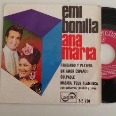 Discos de vinilo: EMI BONILLA Y ANA MARIA-EP FANDANGO Y PLAYERA +3. Lote 152425122