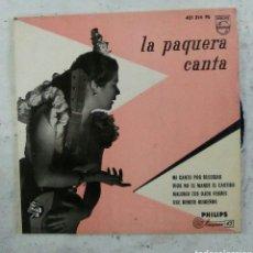 Discos de vinilo: LA PAQUERA CANTA. EP. PHILIPS 421 214 PE, 1958. VG++. DISCO EX.. Lote 152458936