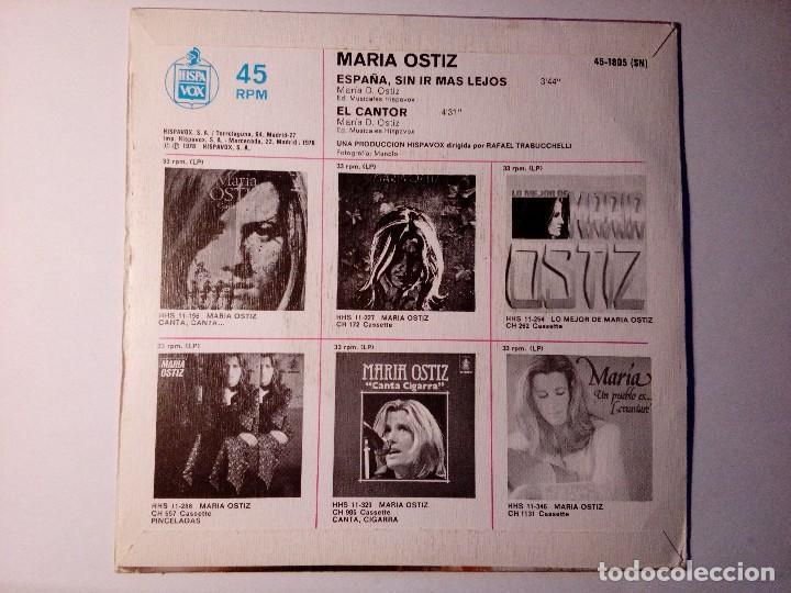 Discos de vinilo: María Ostiz España sin ir más lejos El Cantor Hispavox Madrid España 1978 - Foto 3 - 152474074