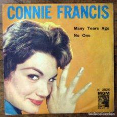 Discos de vinilo: CONNIE FRANCIS - MANY TEARS AGO ( EN ITALIANO) / NO ONE (SENZA MAMA) (EN INGLÉS) - 1960. Lote 152537282