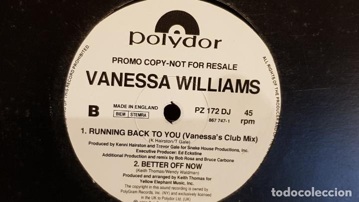 VANESSA WILLIAMS / RUNNING BACK TO YOU / MAX-SG-PROMO - 1991 / MBC. ***/*** (Música - Discos de Vinilo - Maxi Singles - Pop - Rock Extranjero de los 90 a la actualidad)