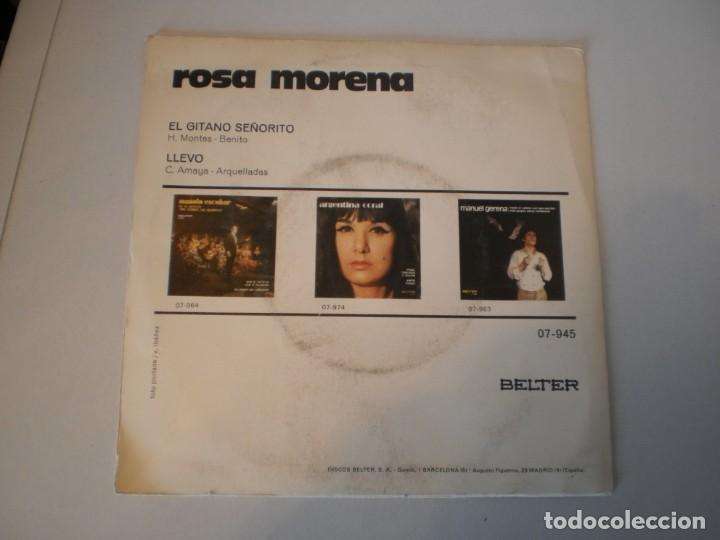 Discos de vinilo: single rosa morena. el gitano señorito. llevo. belter 1971 spain (disco probado y bien) - Foto 2 - 152586302