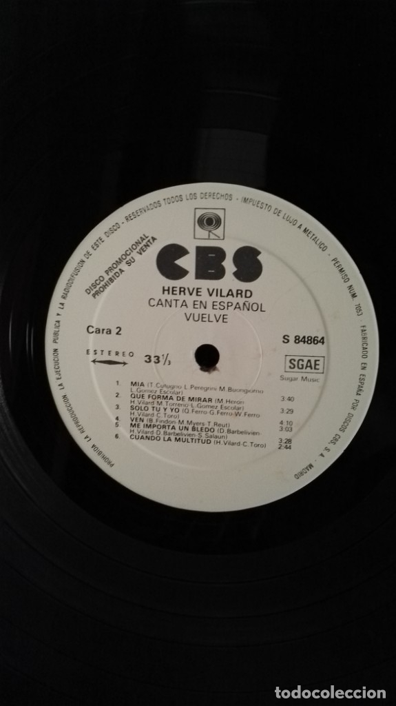 Discos de vinilo: herve vilard canta en español VUELVE CBS LP - Foto 4 - 152648890