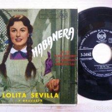 Discos de vinilo: LOLITA SEVILLA Y ORQUESTA - DE LA PELICULA HABANERA - CRI, CRI, LA NIÑA....EP 1959 - RCA. Lote 152782054