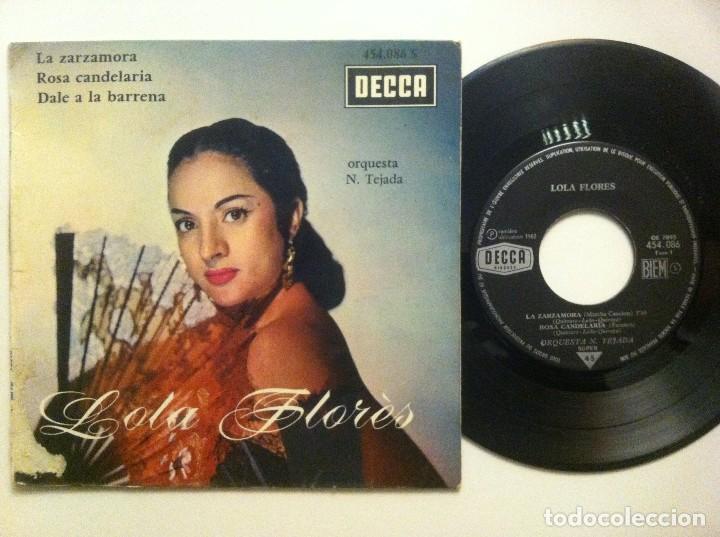 LOLA FLORES - LA ZARZAMORA / ROSA CANDELARIA / DALE A LA BARRENA... EP FRANCES 1962 - DECCA (Música - Discos de Vinilo - EPs - Flamenco, Canción española y Cuplé)