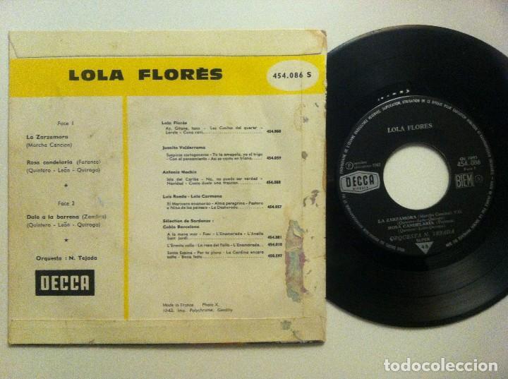 Discos de vinilo: Lola Flores - La Zarzamora / Rosa Candelaria / Dale A La Barrena... EP FRANCES 1962 - DECCA - Foto 2 - 152817178
