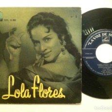 Discos de vinilo: LOLA FLORES N.º 5 - LA VENTOLERA, SEVILLANAS DEL LITRI, FUEGO, FUEGO...EP 1958 - . Lote 152817850
