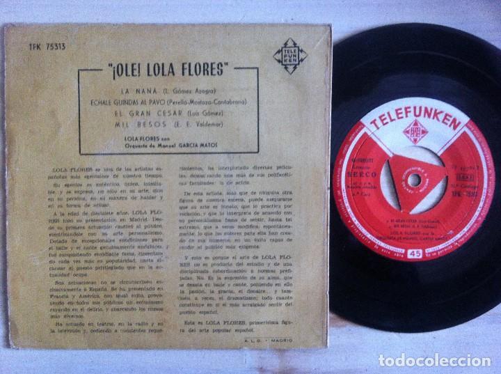 Discos de vinilo: LOLA FLORES - LA NANA, ECHALE GUINDAS AL PAVO...EP 1958 - TELEFUNKEN - Foto 2 - 152914678