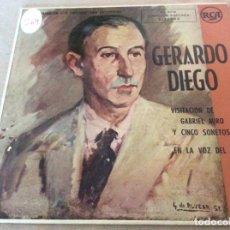 Discos de vinilo: GERARDO DIEGO. VISITACION DE GABRIEL MIRO Y CINCO SONETOS EN LA VOZ DEL AUTOR. RCA. Lote 153047058