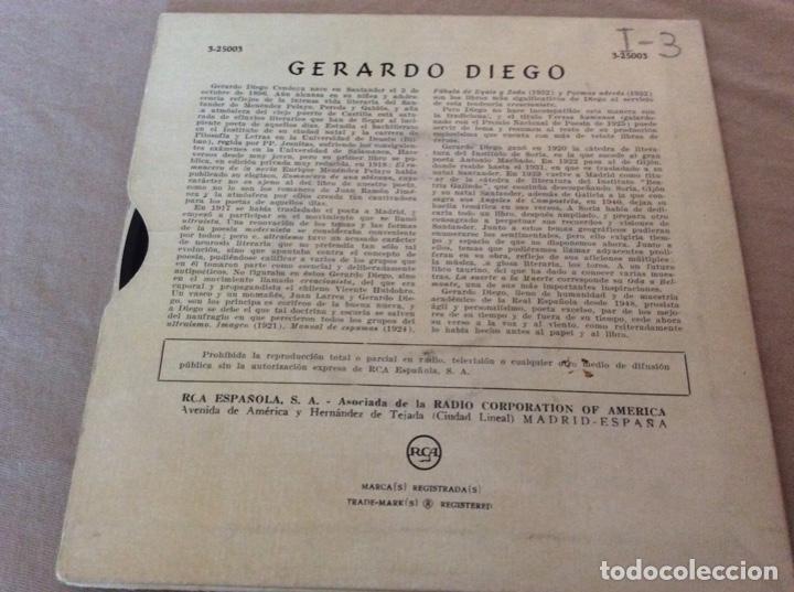 Discos de vinilo: GERARDO DIEGO. VISITACION DE GABRIEL MIRO Y CINCO SONETOS EN LA VOZ DEL AUTOR. RCA - Foto 2 - 153047058