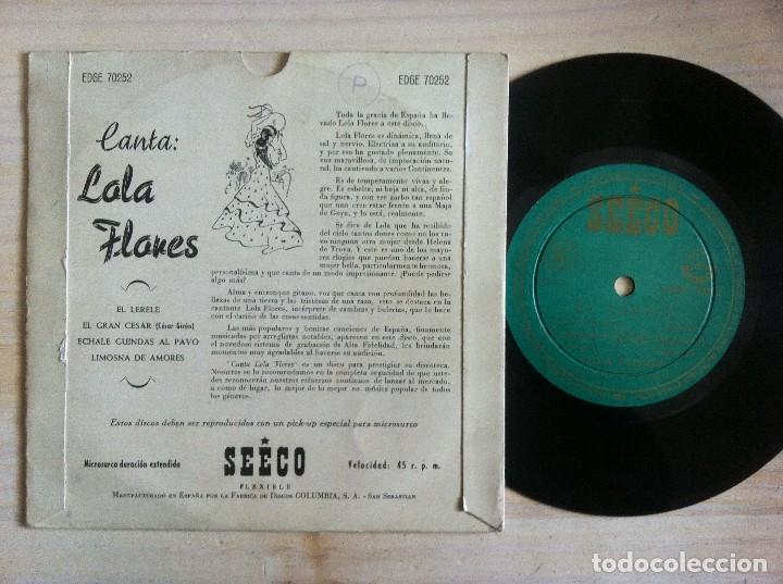 Discos de vinilo: LOLA FLORES - CANTA LOLA FLORES - EL LERELE, EL GRAN CESAR...EP - SEECO - Foto 2 - 153109510