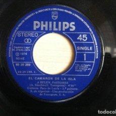 Discos de vinilo: EL CAMARON DE LA ISLA CON PACO DE LUCIA - A BELÉN PASTORES / UN RAYO DE SOL - SINGLE 1974 -. Lote 153118146