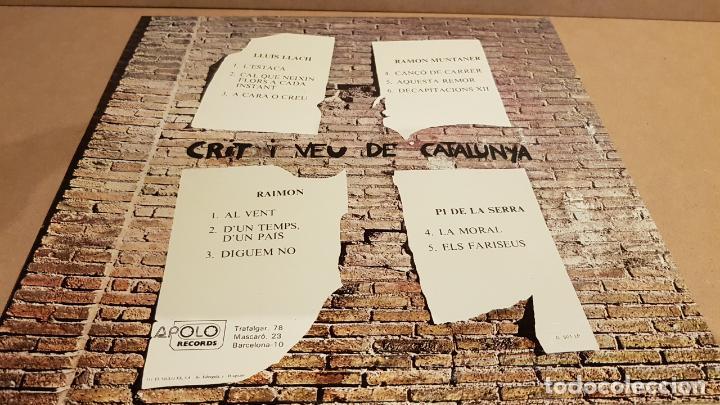 Discos de vinilo: CRIT I VEU DE CATALUNYA / LLACH-RAIMON-MUNTANER-PI DE LA SERRA / LP-APOLO-1976 / MBC. ***/*** - Foto 2 - 153216422