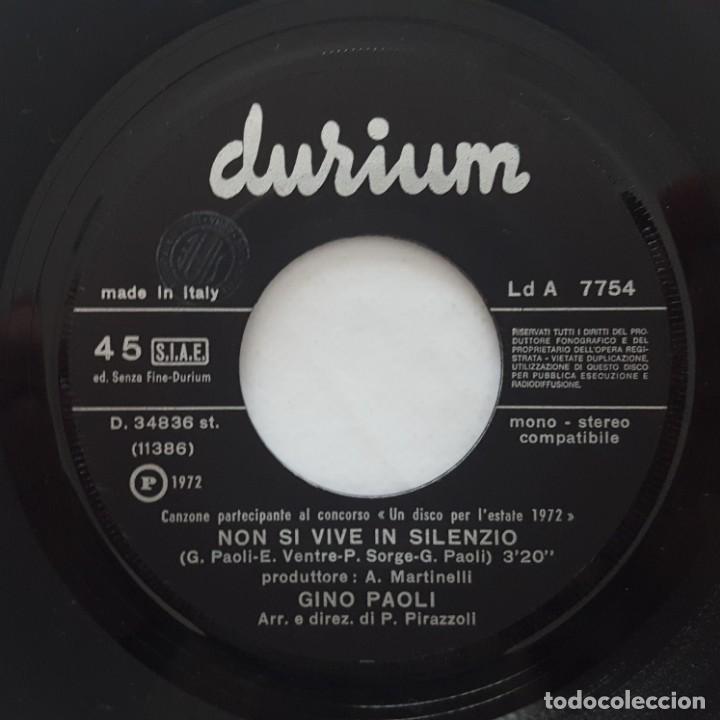 Discos de vinilo: SINGLE / GINO PAOLI / NON SI VIVE IN SILENZIO / AMARE PER VIVERE / DURIUM LD A 7754 / 1972 - Foto 3 - 153231018