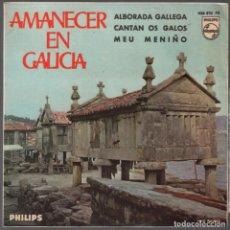 Discos de vinilo: AMANECER EN GALICIA - ALBORADA GALLEGA CANTAN OS GALOS MEU MENIÑO / EP PHILIPS DE 1966 RF-3714. Lote 153307906