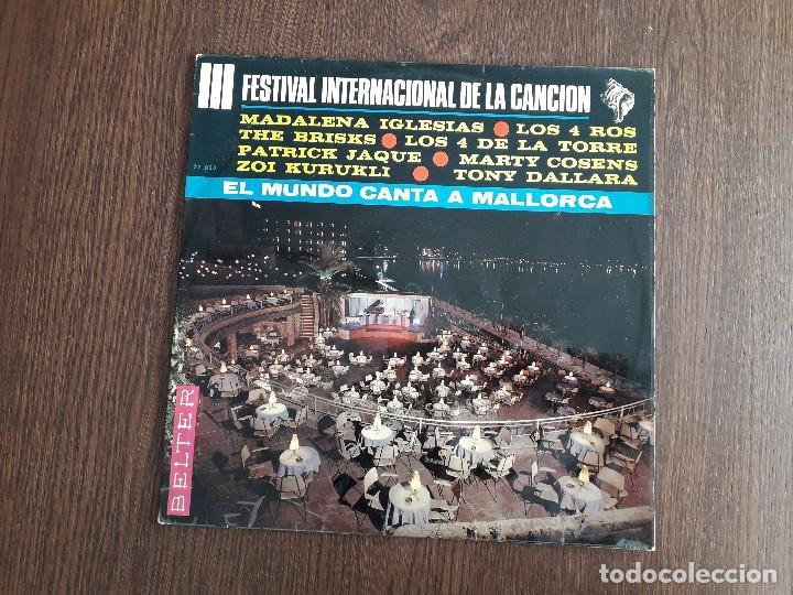 DISCO VINILO LP III FESTIVAL INTERNACIONAL DE LA CANCIÓN, EL MUNDO CANTA A MALLORCA. BELTER AÑO 1966 (Música - Discos - LP Vinilo - Otros Festivales de la Canción)
