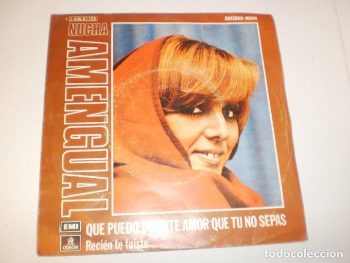 SINGLE NUCHA AMENGUAL QUÉ PUEDO DECIRTE AMOR QUE TÚ NO SEPAS. RECIÉN TE FUISTE. EMI 1974 SPAIN (Música - Discos - Singles Vinilo - Grupos y Solistas de latinoamérica)