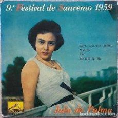 Disques de vinyle: JULA DE PALMA CON PINO CALVI E LA SUA ORCHESTRA - 9° FESTIVAL DE SANREMO 1959 - EP SPAIN 1959. Lote 153433386