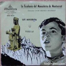 Discos de vinilo: LA ESCOLANÍA DEL MONASTERIO DE MONTSERRAT : SALVE MONTSERRATINA. VIROLAI.- SINGLE. Lote 153453702