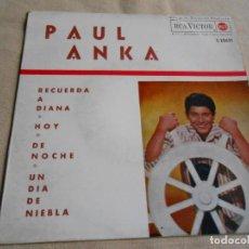 Discos de vinilo: PAUL ANKA, EP, RECUERDA A DIANA + 3, AÑO 1963. Lote 153480674