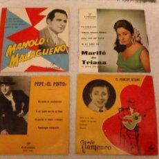 Discos de vinilo: VINILO SINGLE .PEPE EL PINTO,MARIFÉ, PRINCIPE GITANO, MANOLO EL MALAGUEÑO.. Lote 152493990