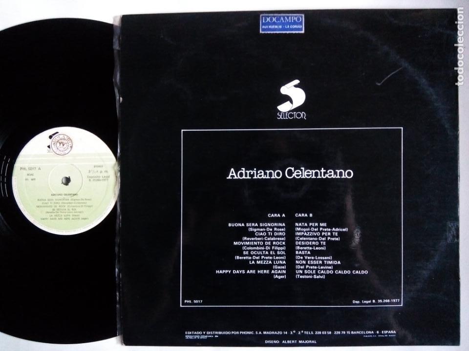 Discos de vinilo: ADRIANO CELENTANO. LP SELECTOR PHL 5017. ESPAÑA 1977. BUENA SERA SIGNORINA. CIAO TI DIRO. - Foto 2 - 153561034