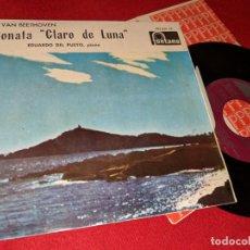Discos de vinilo: EDUARDO DEL PUEYO PIANO BEETHOVEN SONATA CLARO DE LUNA Nº14 OP 27 Nº2 7'' EP 1964 SPAIN ESPAÑA. Lote 179044401