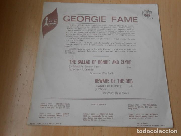 Discos de vinilo: GEORGIE FAME, SG, THE BALLAD OF BONNIE AND CLYDE + 1, AÑO 1968 - Foto 2 - 153676434