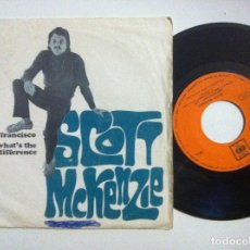 Discos de vinilo: SCOTT MCKENZIE - SAN FRANCISCO / WHAT´S THE DIFFERENCE - SINGLE 1967 - CBS. Lote 153717974