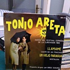 Discos de vinilo: TONIO ARETA. LLAMAME. HISPAVOX 1962. Lote 153744357