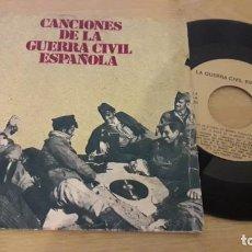 Discos de vinilo: SINGLE.CANCIONES DE LA GUERRA CIVIL.CON LEYES DE LAS CSNCIONES. Lote 153897418