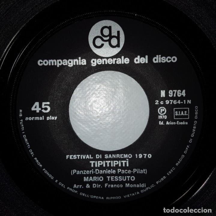 Discos de vinilo: SINGLE / MARIO TESSUTO / TIPITIPITIPITI / LULTIMA ORA DAMORE / CGD N 9764 / SANREMO 1970 - Foto 3 - 153956802