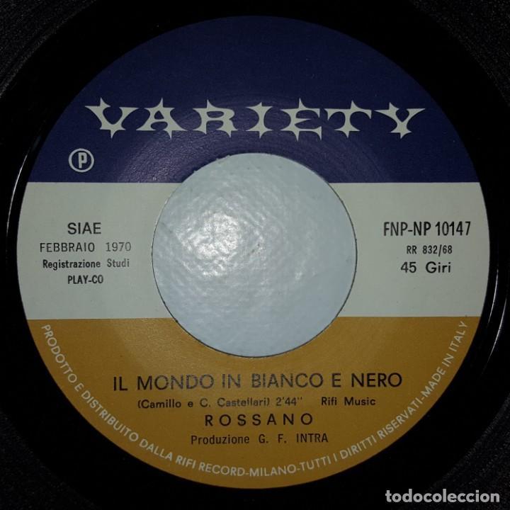 Discos de vinilo: SINGLE / ROSSANO / OCCHI A MANDORLA / IL MONDO IN BIANCO E NERO / VARIETY FNP-NP 10147 /SANREMO 1970 - Foto 4 - 153958714