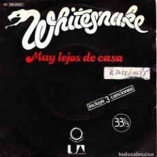 Discos de vinilo: WHITESNAKE - MUY LEJOS DE CASA + TROUBLE + AIN'T NO LOVE IN THE HEART OF THE CITY SINGLE RARO 1980 S. Lote 153985302