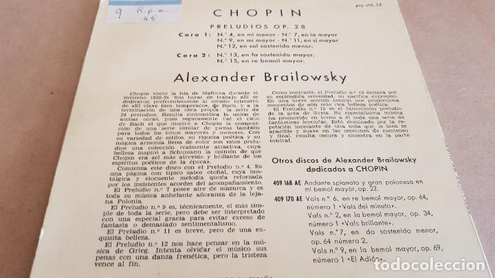 Discos de vinilo: ALEXANDER BRAILOWSKY / CHOPIN / PRELUDIOS / EP - PHILIPS - 1960 / MBC. ***/*** - Foto 2 - 154105994