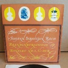 Discos de vinilo: J.S.BACH / CONCIERTO DE BRANDEBURGO Nº 3 / EP - VERGARA-1961 / MBC. **/***. Lote 154108390