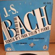 Discos de vinilo: BACH / SONATA Nº 5 VIOLIN Y PIANO / OISTRAKH-OBORINE / EP-CHANT DU MONDE / 33½ RPM / MBC. ***/***. Lote 154109074