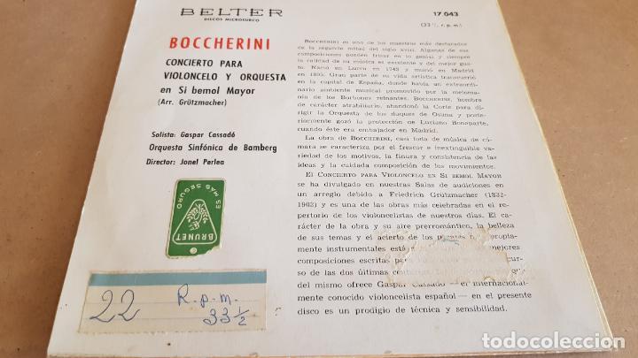 Discos de vinilo: BOCCHERINI / CONCIERTO PARA VIOLONCELO / GASPAR CASSADO / EP-BELTER / 33½ RPM / MBC. ***/*** - Foto 2 - 154110814