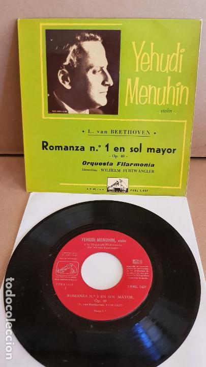 YEHUDI MENUHIN / BEETHOVEN / ROMANZA Nº 1 / EP- LA VOZ DE SU AMO-1960 / MBC. ***/*** (Música - Discos de Vinilo - EPs - Clásica, Ópera, Zarzuela y Marchas)