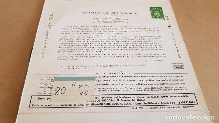 Discos de vinilo: YEHUDI MENUHIN / BEETHOVEN / ROMANZA Nº 1 / EP- LA VOZ DE SU AMO-1960 / MBC. ***/*** - Foto 2 - 154111494
