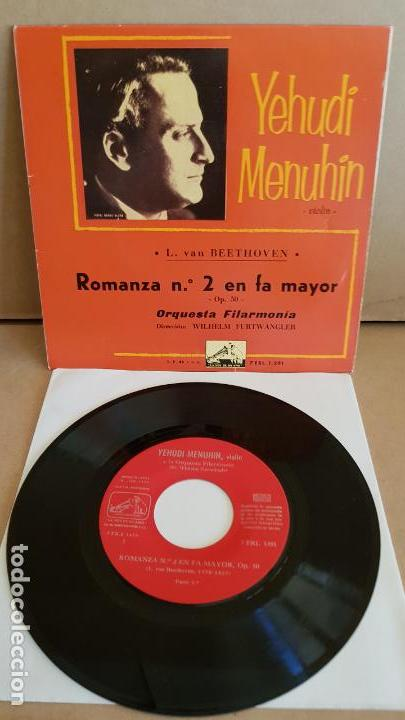 YEHUDI MENUHIN / BEETHOVEN / ROMANZA Nº 2 / EP- LA VOZ DE SU AMO-1960 / MBC. ***/*** (Música - Discos de Vinilo - EPs - Clásica, Ópera, Zarzuela y Marchas)