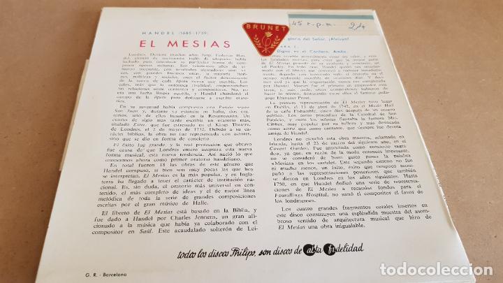 Discos de vinilo: HANDEL / EL MESIAS / EP - PHILIPS-1963 / MBC. ***/*** - Foto 2 - 154119514