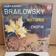 Discos de vinilo: CHOPIN / ALEXANDER BRAILOWSKY / NOCTURNOS / EP-RCA / 33½ RPM / MBC. ***/***. Lote 154124746