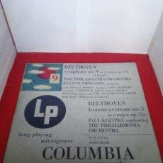 Discos de vinilo: COLUMBIA BEETHOVEN SYMPHONY 9 THE PHILADELPHIA ORCHESTRA EUGENE ORMANDY. Lote 154168730