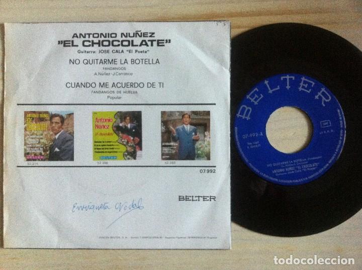Discos de vinilo: ANTONIO NUÑEZ (el chocolate) - no quitarme la botella ...- SINGLE 1967 - BELTER - Foto 2 - 154240958
