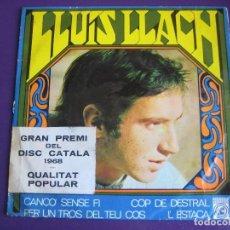 Discos de vinilo: LLUIS LLACH EP CONCENTRIC 1968 CANÇÓ SENSE FI / COP DE DESTRAL / L'ESTACA +1 NOVA CANÇO. Lote 154244782