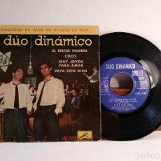 Discos de vinilo: DISCO VINILO DE 45 R.P.M. DUO DINÁMICO. CON EL TERCER HOMBRE. CELOS. MUY JOVEN PARA AMAR. VAYA CON D. Lote 154332750