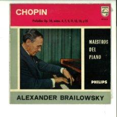 Discos de vinilo: ALEXANDER BRAILOWSKY. CHOPIN PRELUDIOS OP.28, NÚMS. 4, 7, 9, 11, 12 13 Y 15. MAESTROS DEL PIANO. Lote 154371906