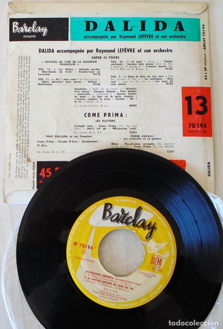 Discos de vinilo: DALIDA - COME PRIMA + 3 TEMAS BARCLAY EDIC. FRANCESA - 1965 (1958) - Foto 2 - 154374018